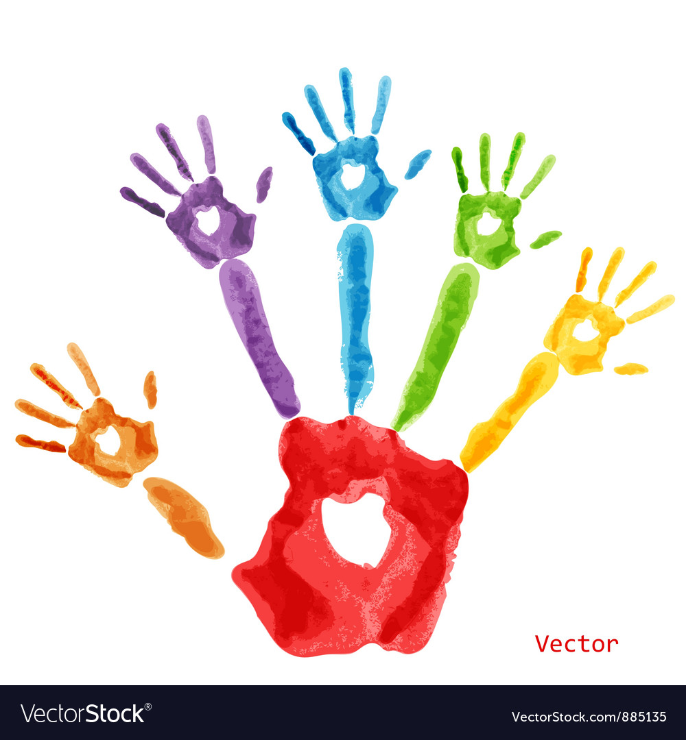 Colourful handprint paint vector | Price: 1 Credit (USD $1)
