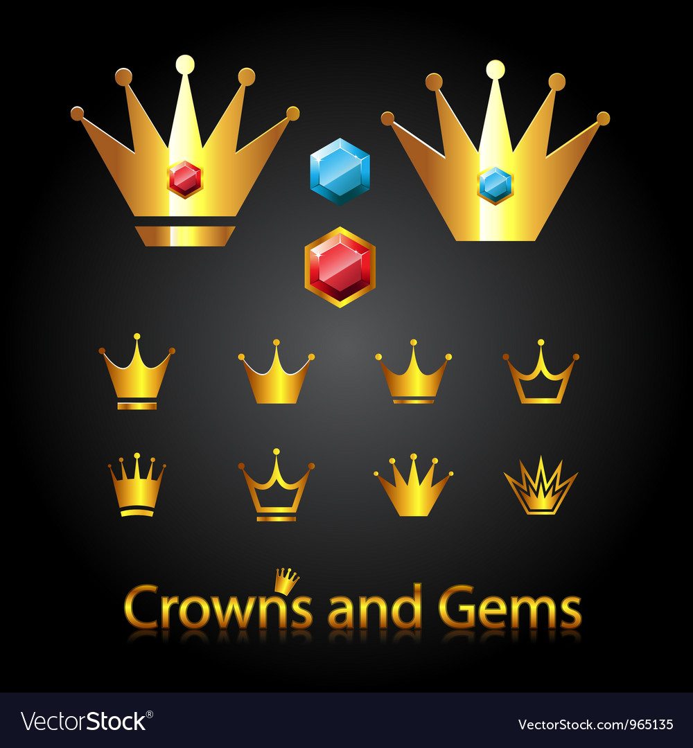 Crowns and gems vector | Price: 1 Credit (USD $1)