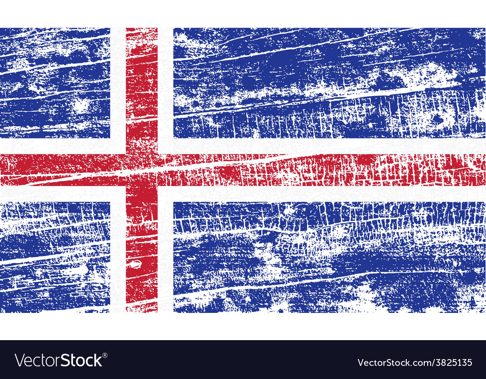 Flag of iceland with old texture vector | Price: 1 Credit (USD $1)