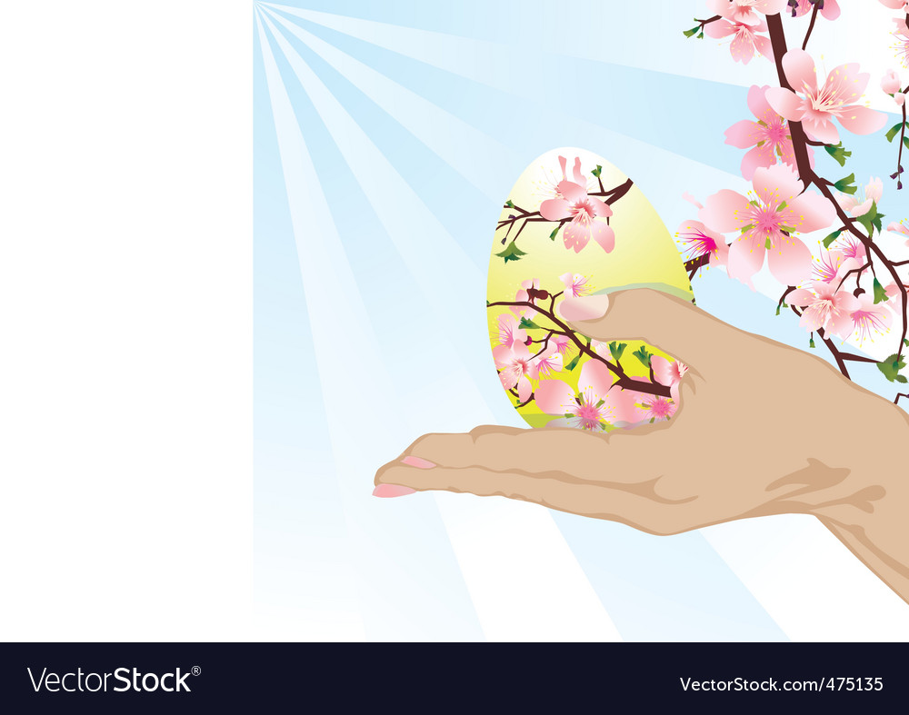 Hand with easter egg vector | Price: 1 Credit (USD $1)