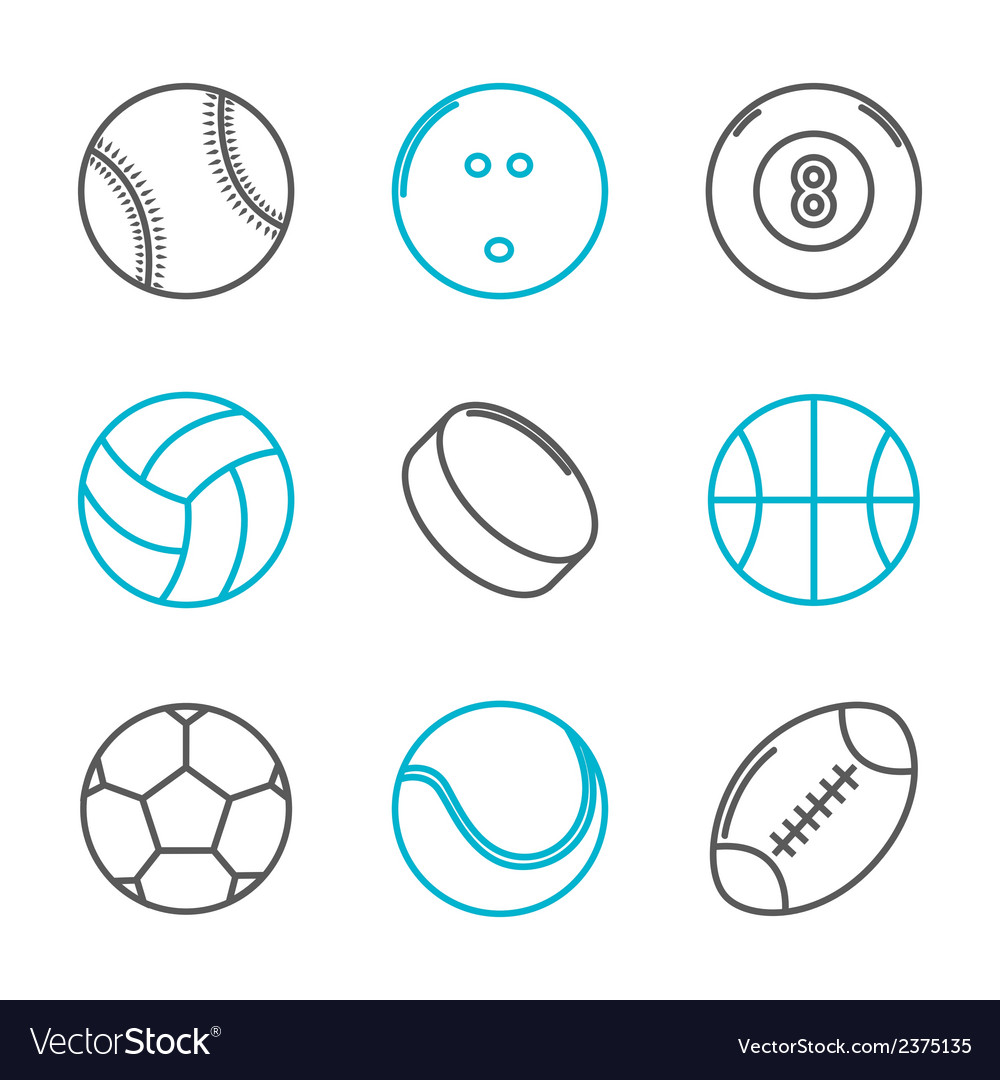 Simple trendy sport icons set vector | Price: 1 Credit (USD $1)