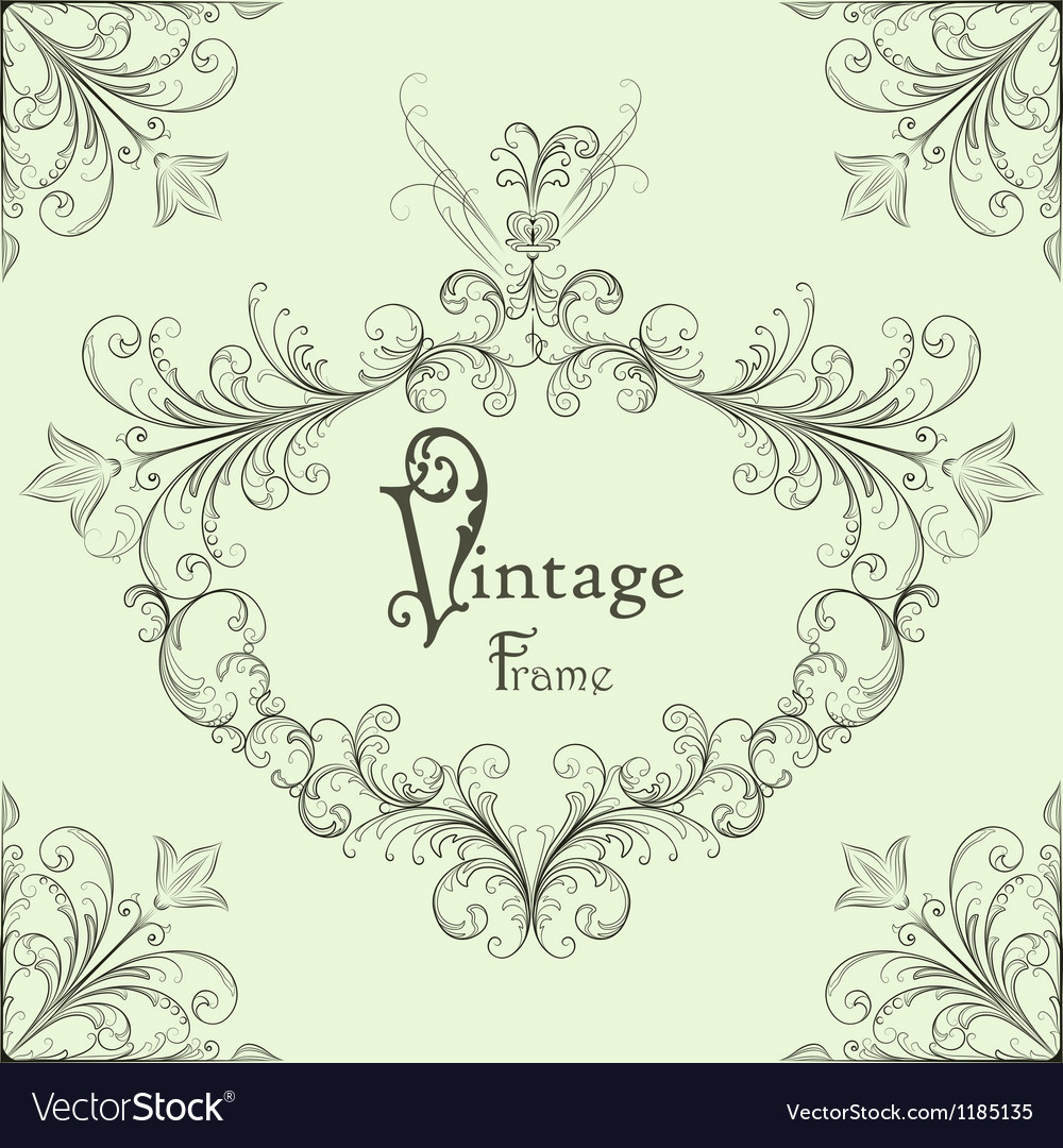 Vintage calligraphic frame vector | Price: 1 Credit (USD $1)