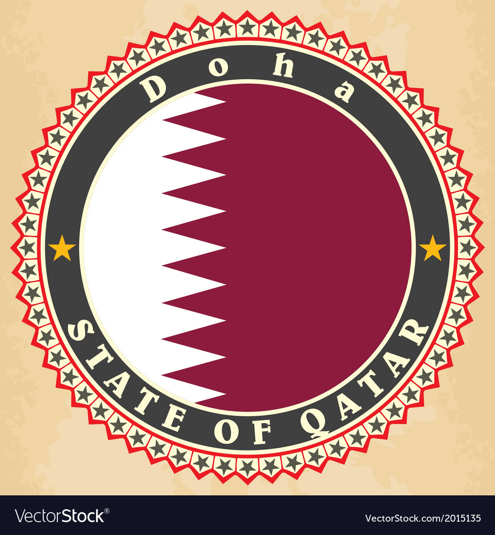 Vintage label cards of qatar flag vector | Price: 1 Credit (USD $1)