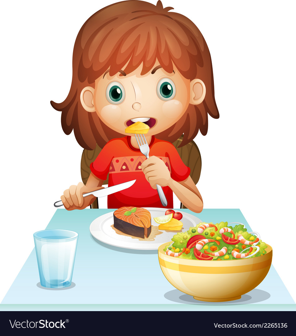 A young woman eating lunch vector | Price: 1 Credit (USD $1)
