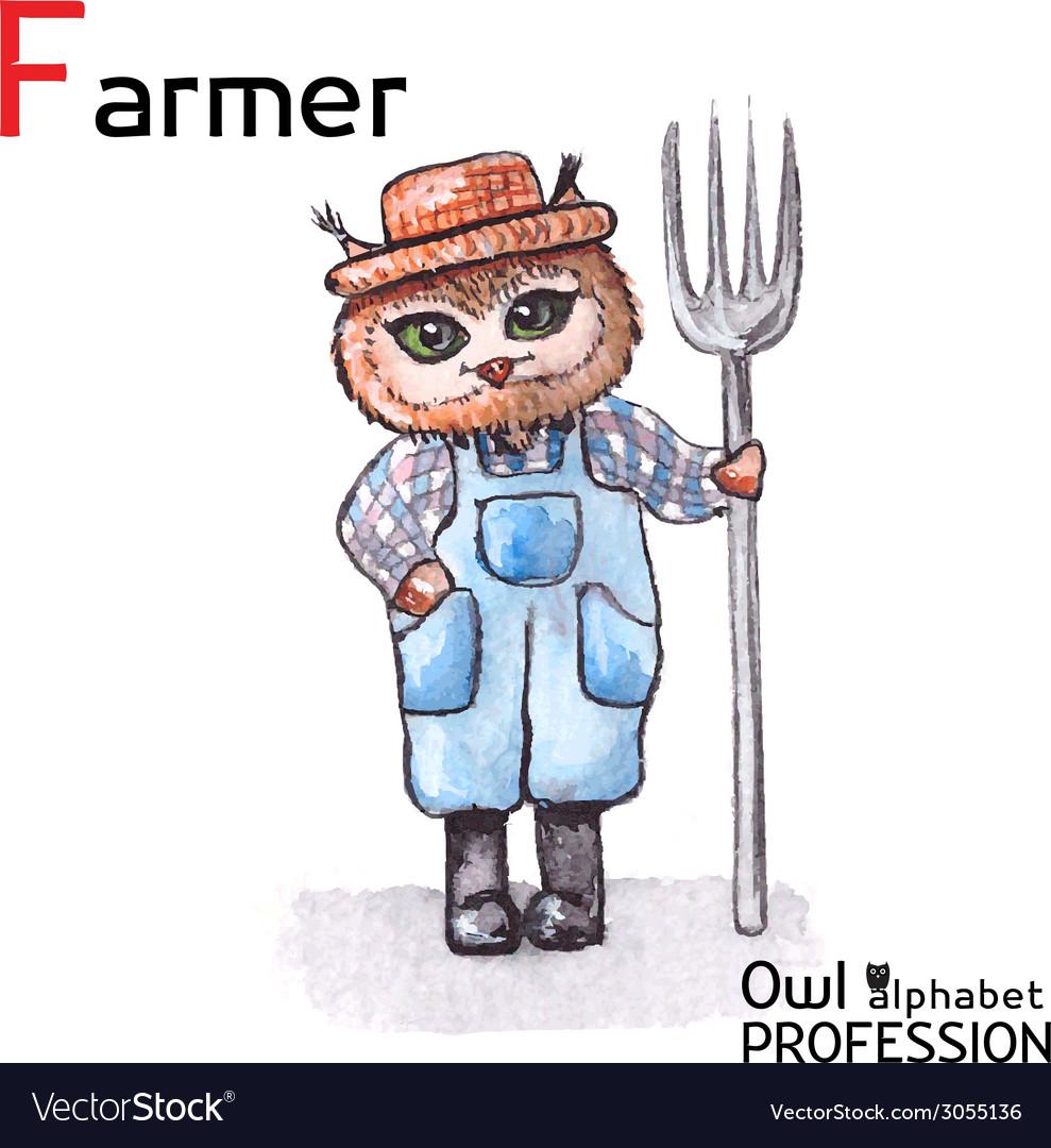Alphabet professions owl letter f - farmer vector   Price: 1 Credit (USD $1)