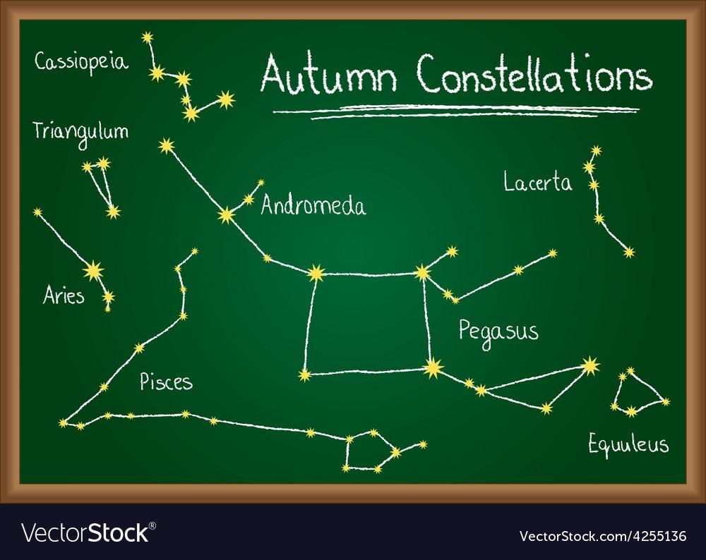 Autumn constellations on chalkboard vector   Price: 1 Credit (USD $1)