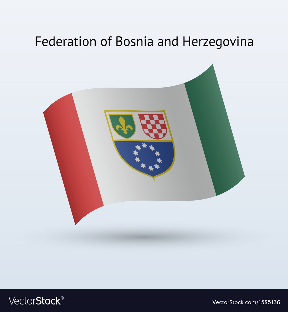 Federation of bosnia and herzegovina flag waving vector | Price: 1 Credit (USD $1)