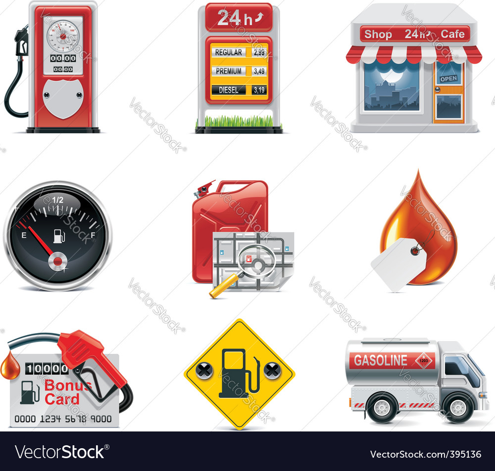 gas station icon set vector | Price: 3 Credit (USD $3)