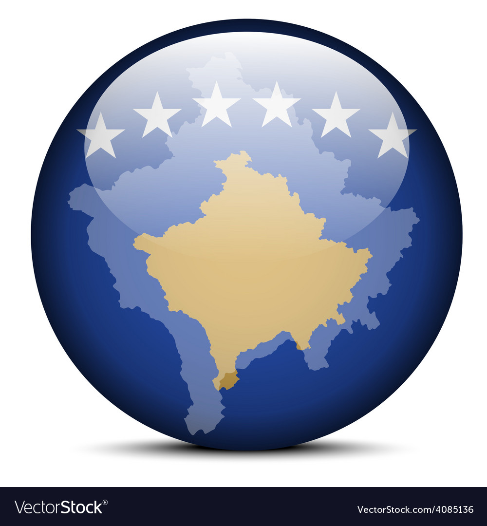 Map on flag button of kosovo vector | Price: 1 Credit (USD $1)