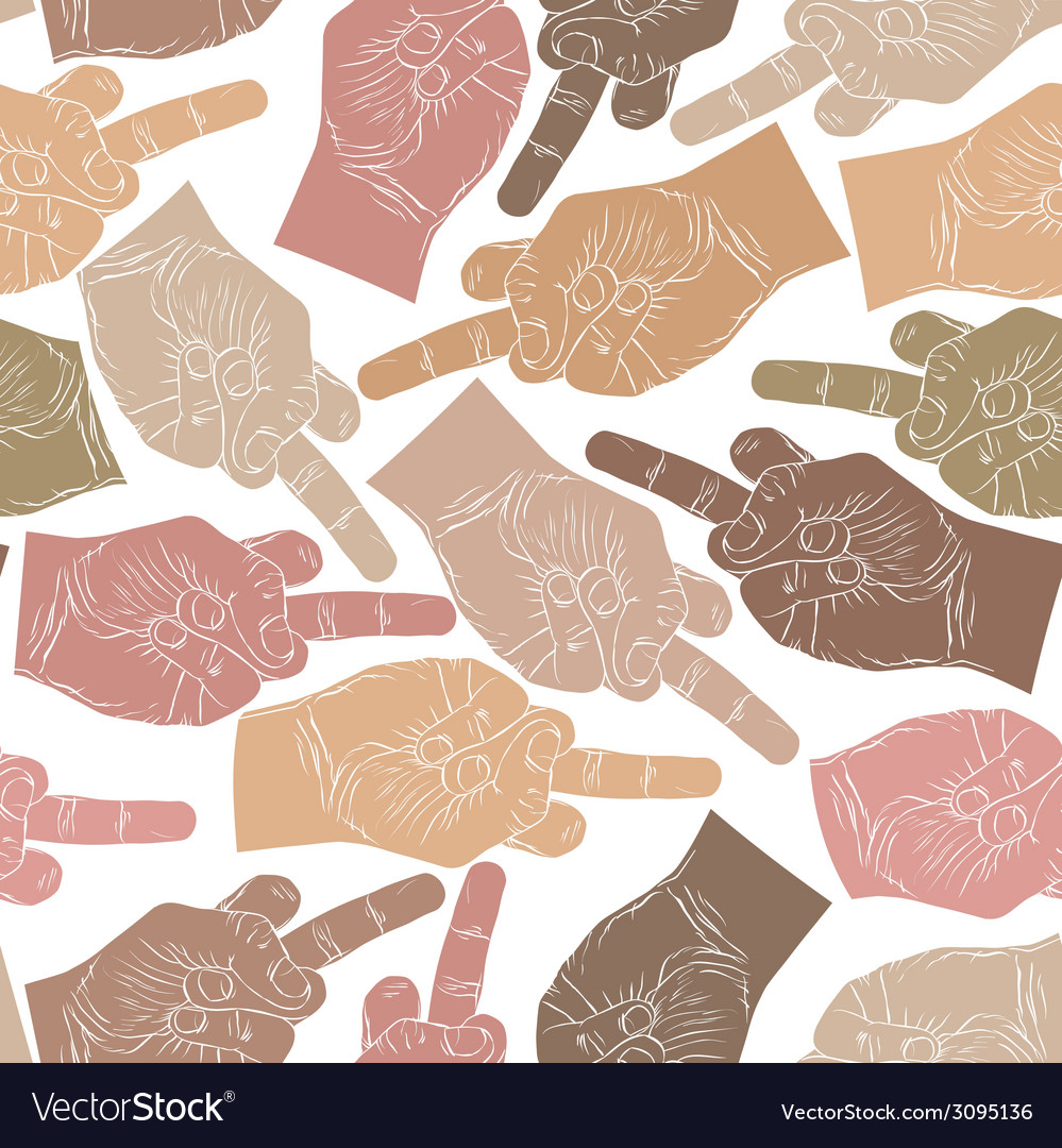 Middle finger hands seamless pattern background vector | Price: 1 Credit (USD $1)