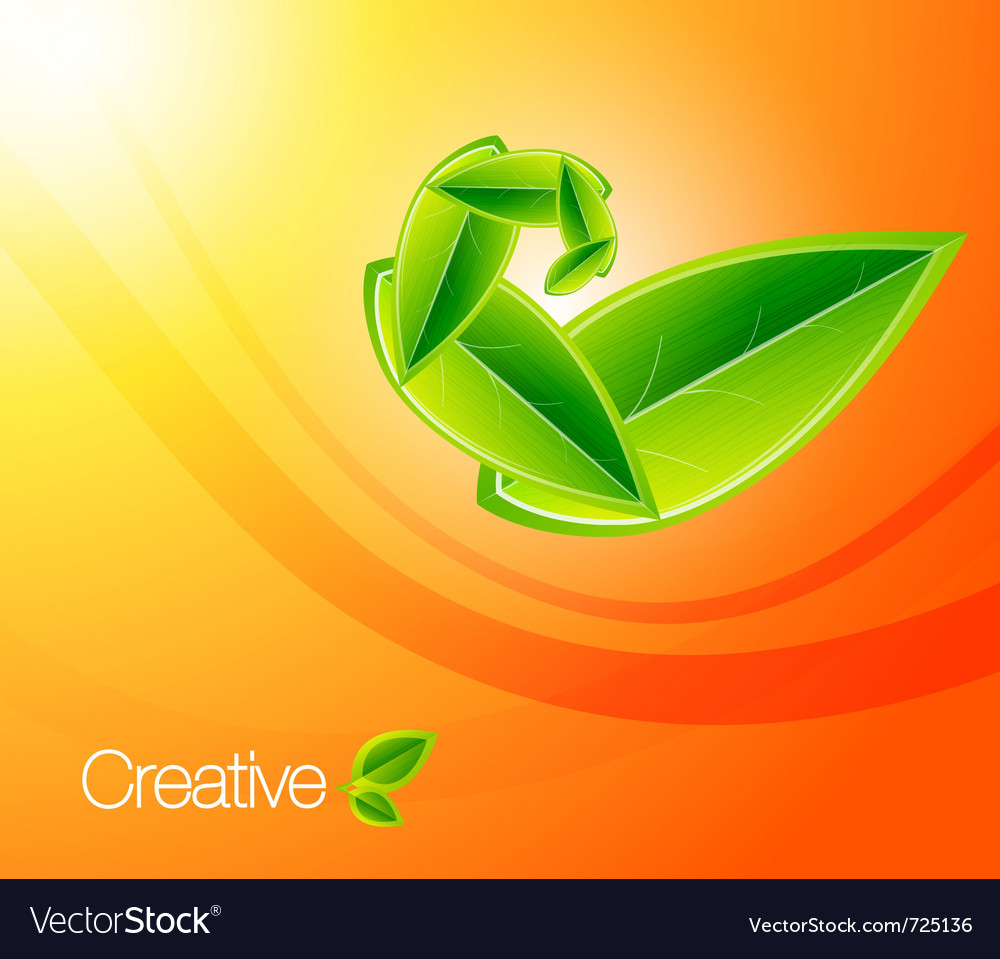 Nature leaf concept on orange background eps10 ill vector | Price: 1 Credit (USD $1)