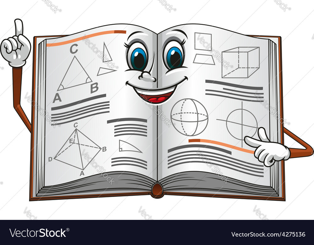 Open textbook with geometric shapes cartoon vector | Price: 1 Credit (USD $1)