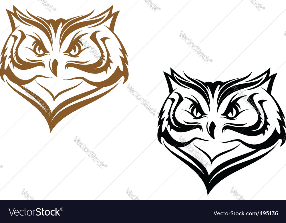 Owl head vector | Price: 1 Credit (USD $1)