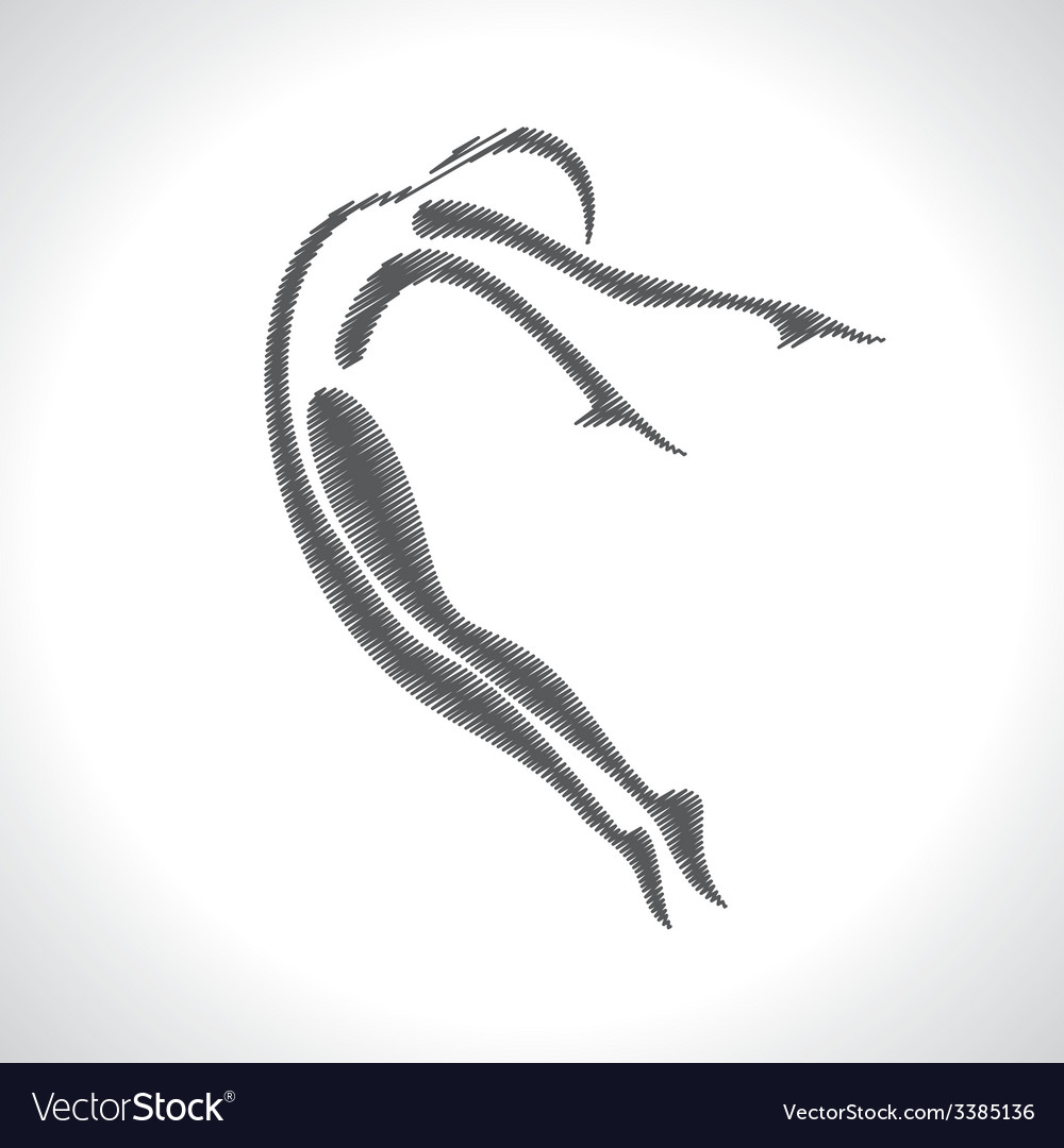 Stylized sketched yoga pose vector | Price: 1 Credit (USD $1)