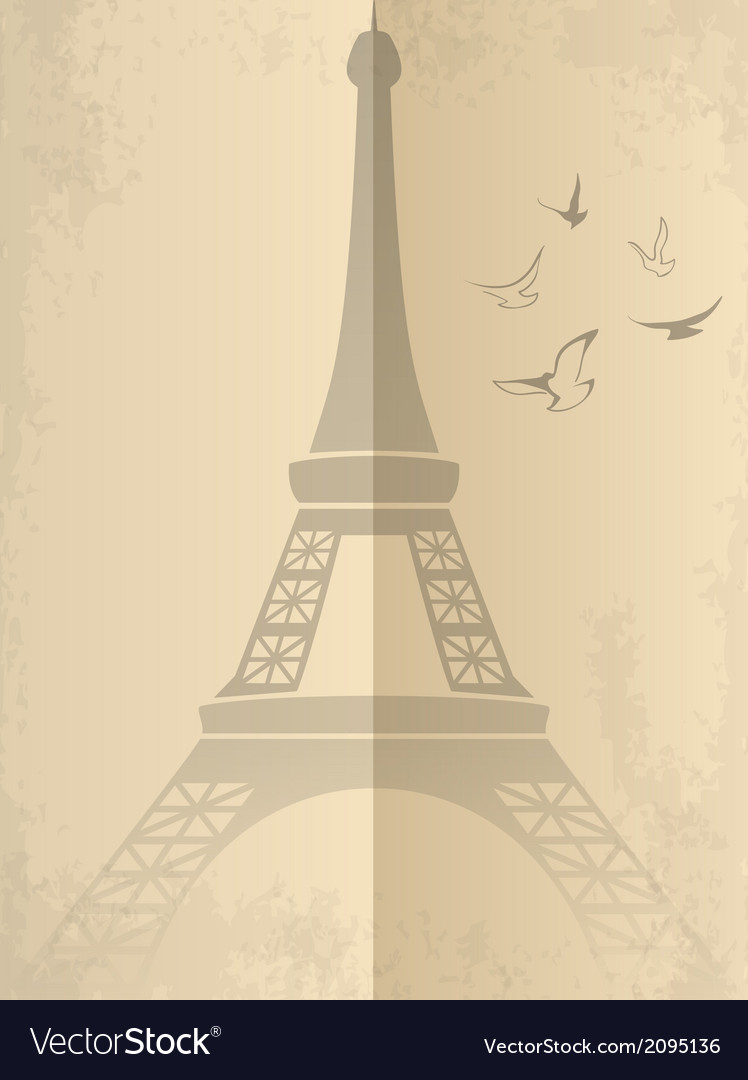 Vintage card with eiffel tower vector | Price: 1 Credit (USD $1)