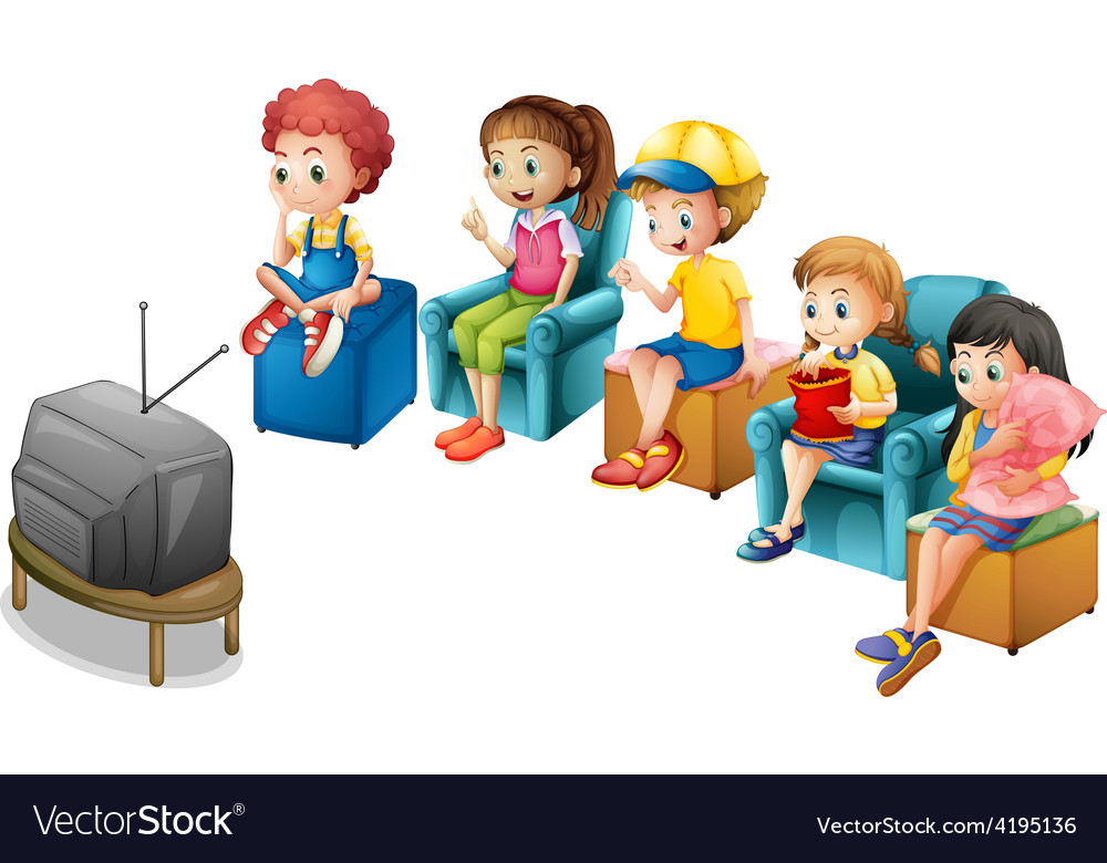 Watching tv vector | Price: 3 Credit (USD $3)