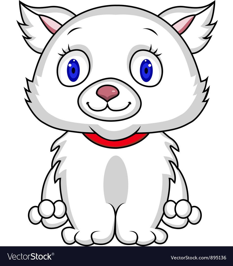 White cat cartoon vector | Price: 3 Credit (USD $3)