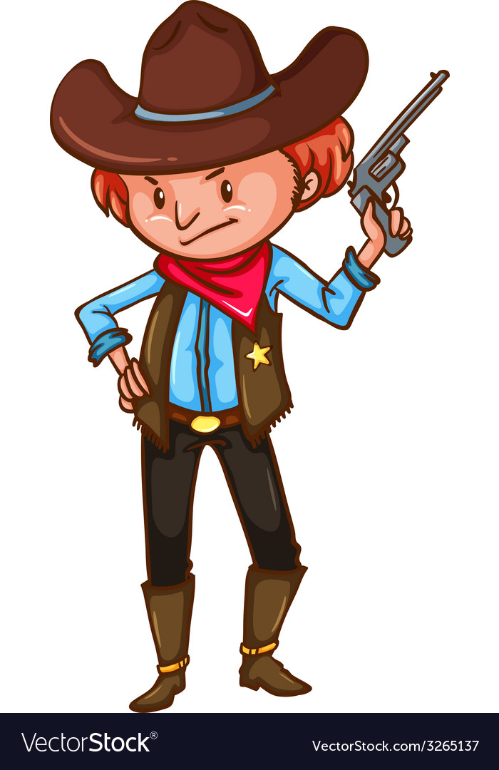 A cowboy with a gun vector | Price: 1 Credit (USD $1)