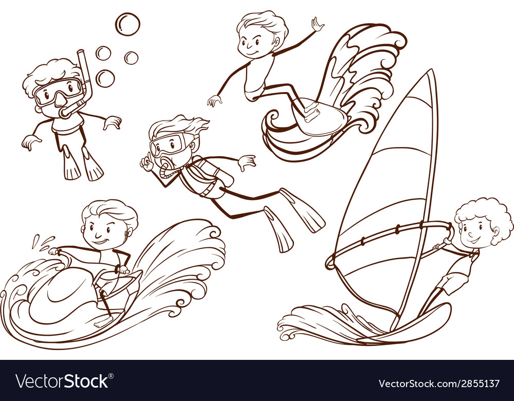 A simple sketch of people engaging in water sports vector | Price: 1 Credit (USD $1)