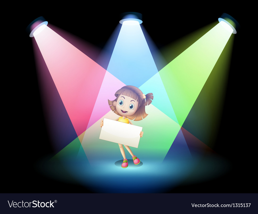 A smiling girl holding an empty board vector | Price: 1 Credit (USD $1)