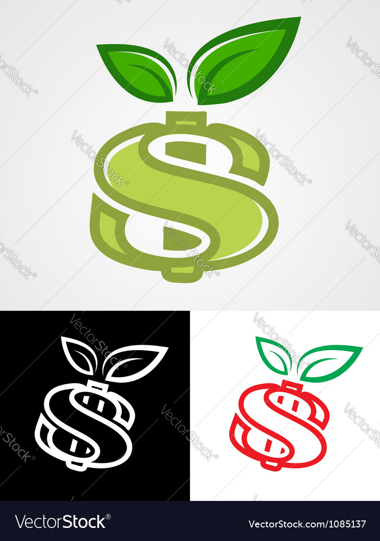 Apple as dollar sign vector | Price: 1 Credit (USD $1)