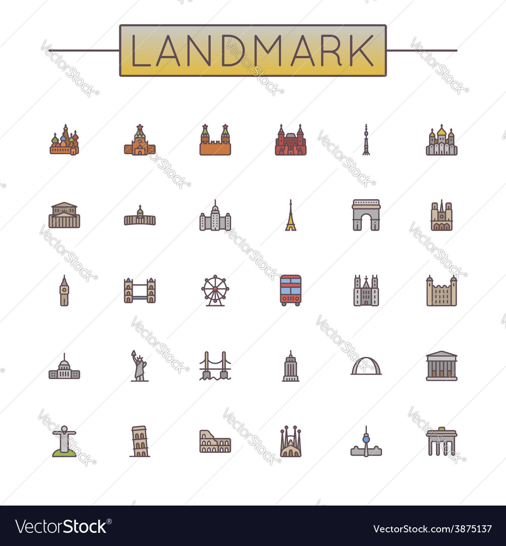 Colored landmark line icons vector | Price: 1 Credit (USD $1)
