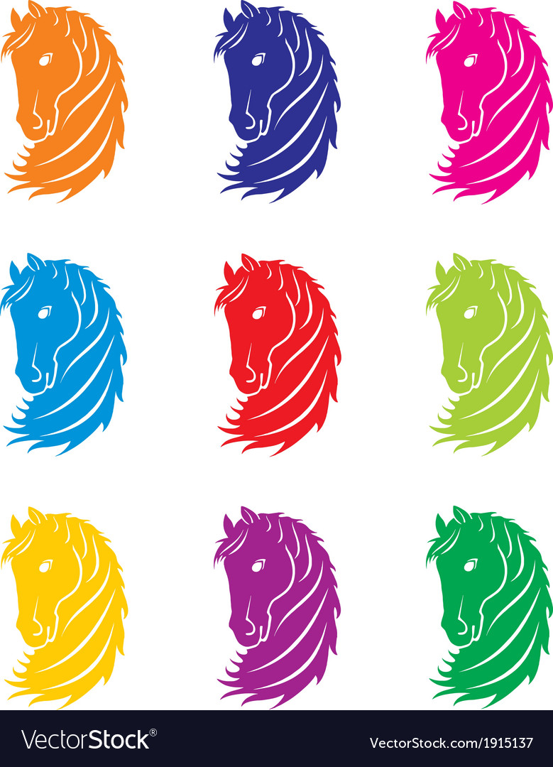Coloured horse head vector | Price: 1 Credit (USD $1)