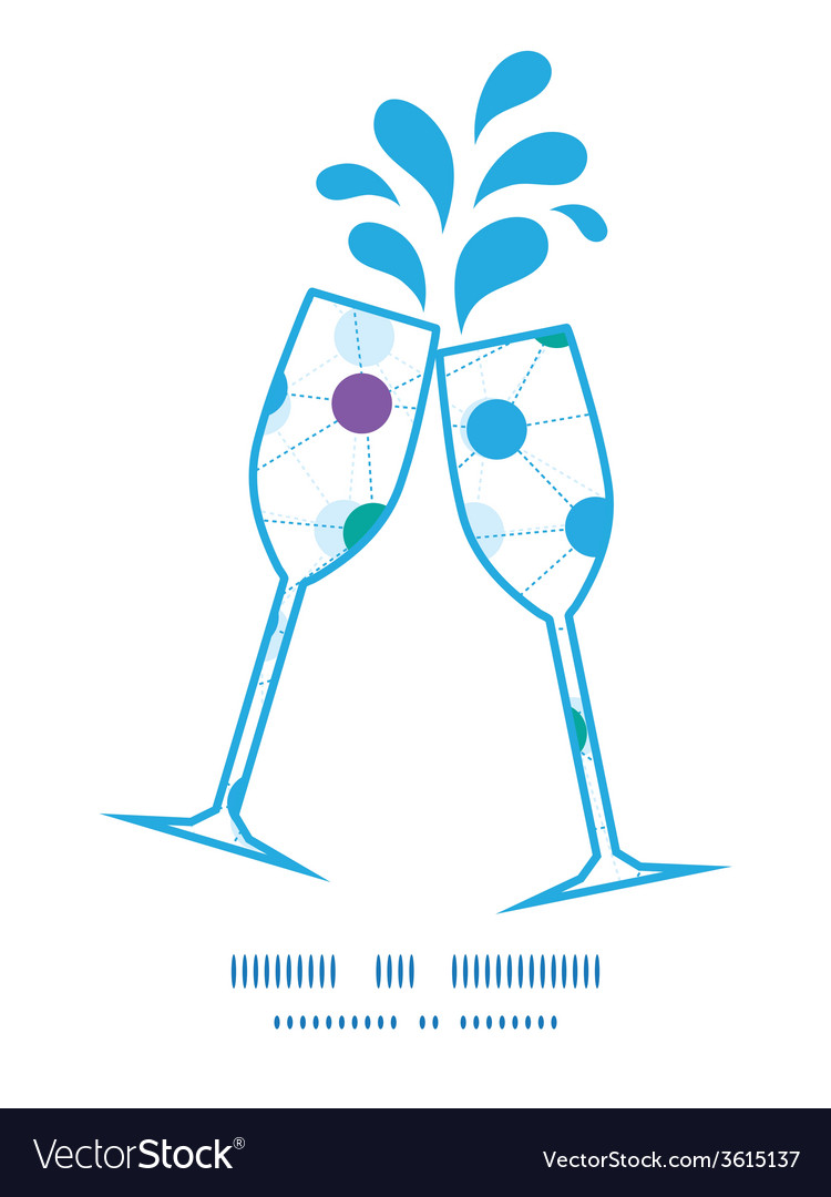 Connected dots toasting wine glasses silhouettes vector   Price: 1 Credit (USD $1)