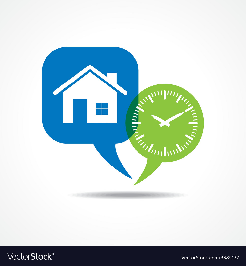 Home and clock in message bubble vector | Price: 1 Credit (USD $1)