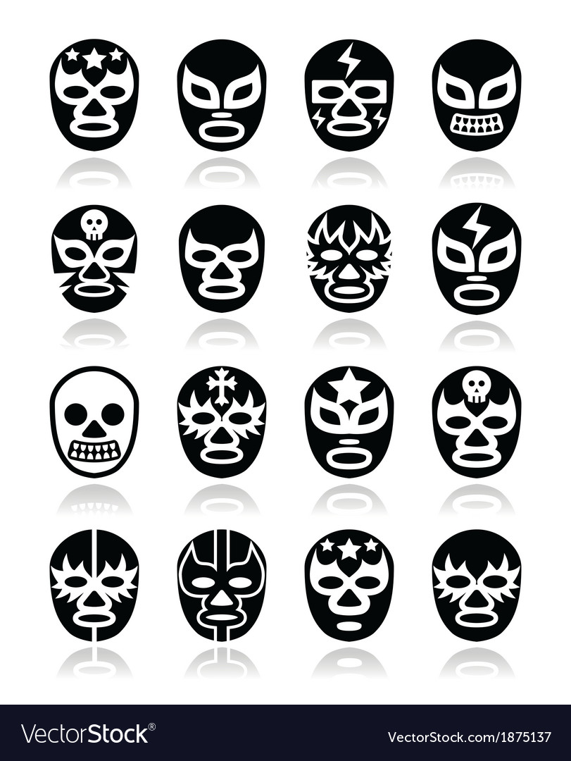 Lucha libre mexican wrestling masks icons vector | Price: 1 Credit (USD $1)