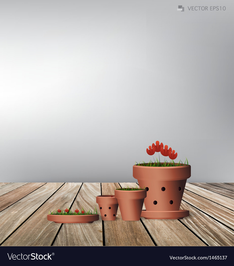 Red flower plant clay pot vector | Price: 1 Credit (USD $1)