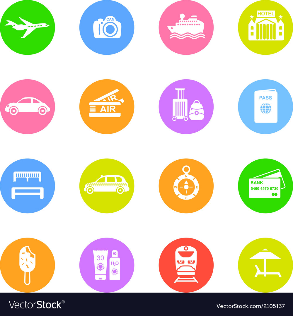 Travel icons in color circles vector | Price: 1 Credit (USD $1)