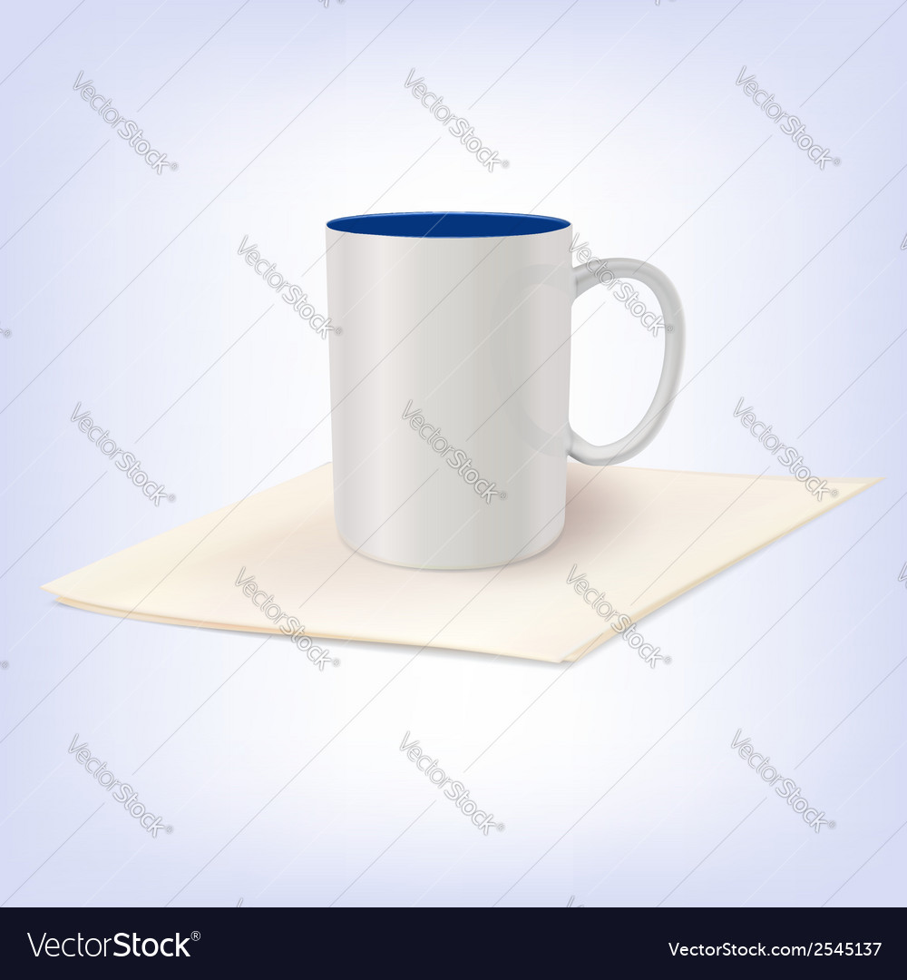 White ceramic cup standing on a napkin vector | Price: 1 Credit (USD $1)
