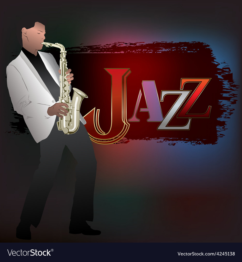 Abstract music with saxophone player and word jazz vector | Price: 3 Credit (USD $3)