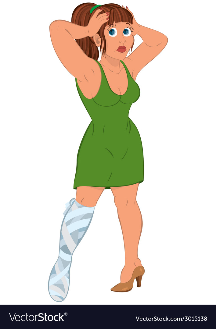 Cartoon woman in green dress with injured leg vector | Price: 1 Credit (USD $1)
