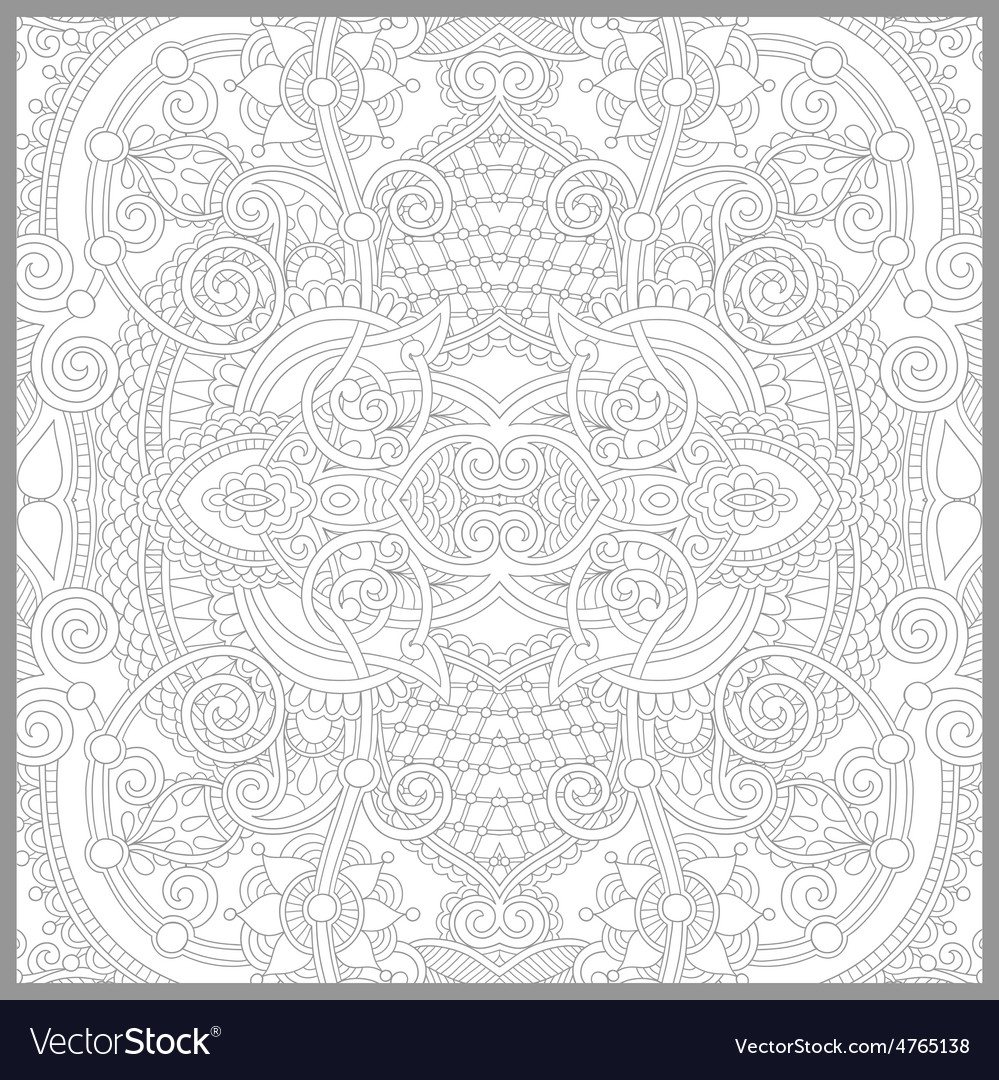 Coloring book square page for adults - floral vector | Price: 1 Credit (USD $1)
