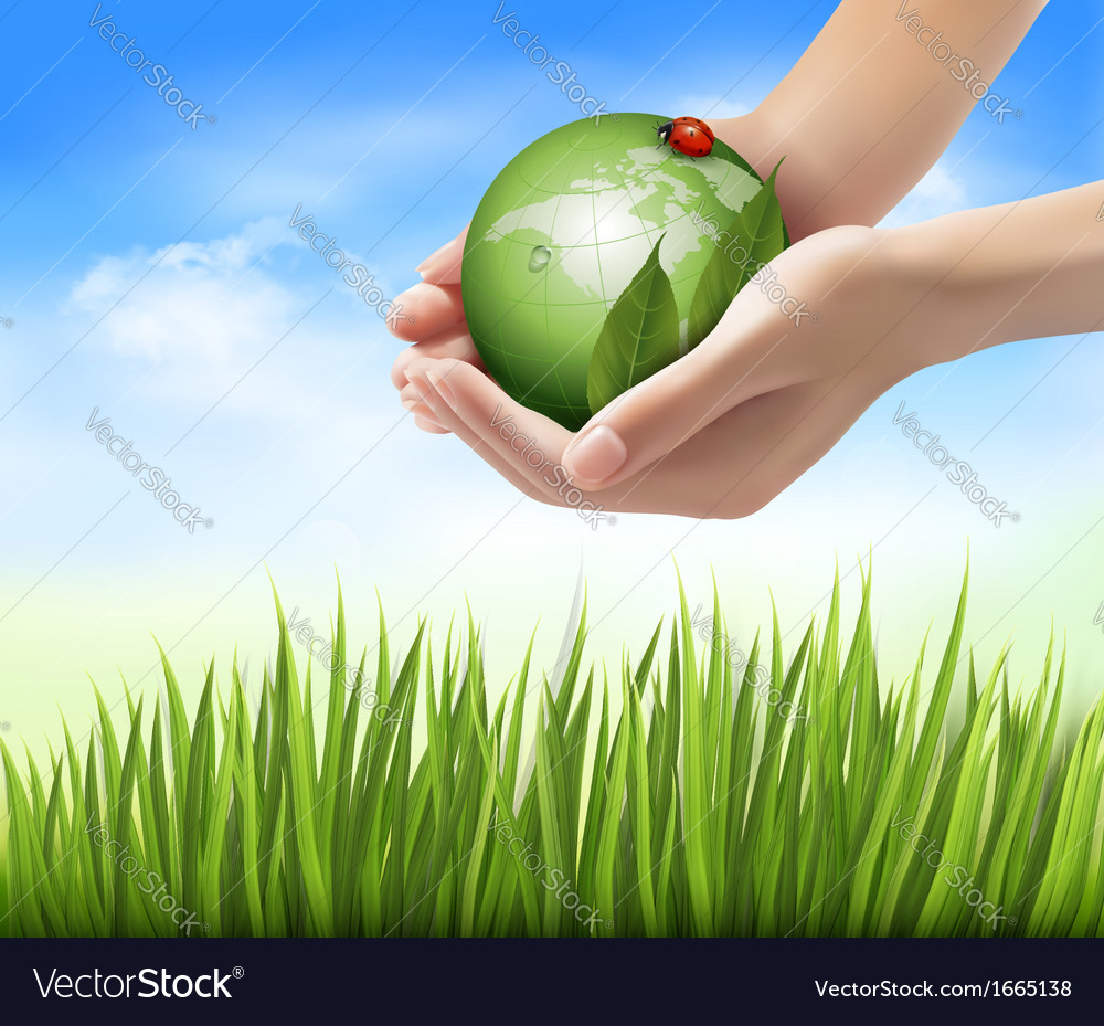Green world and leaf have love bug in hands vector | Price: 1 Credit (USD $1)
