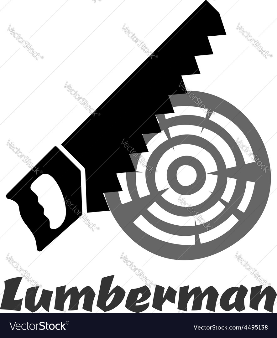 Hand saw icon cutting wood log vector | Price: 1 Credit (USD $1)