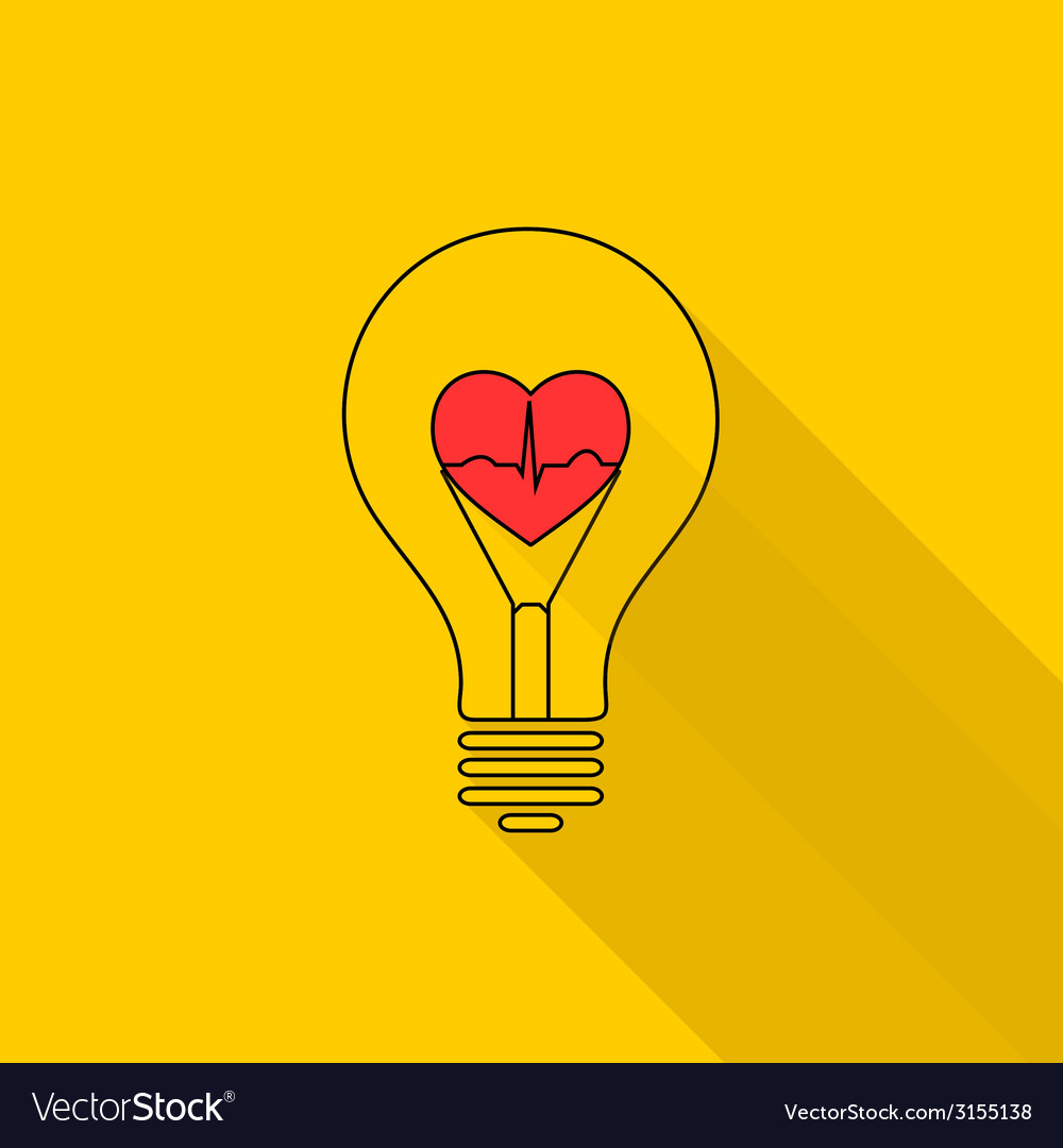 Heart beat in a light bulb vector | Price: 1 Credit (USD $1)