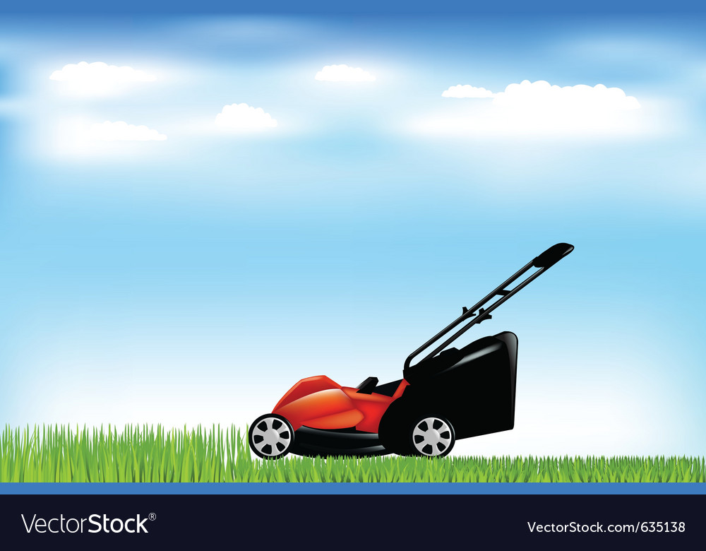 Red lawn mower vector | Price: 1 Credit (USD $1)