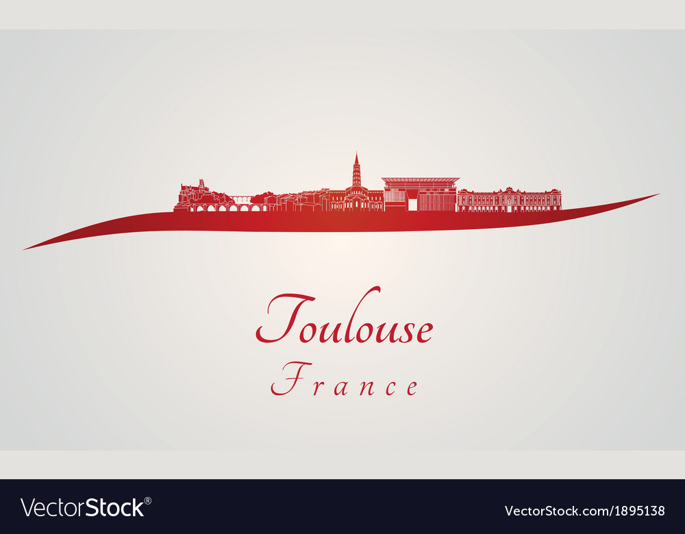 Toulouse skyline in red vector | Price: 1 Credit (USD $1)
