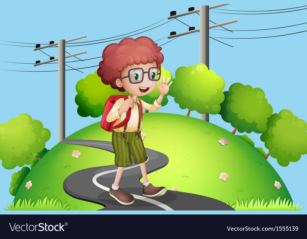 A young boy walking at the street with electric vector | Price: 1 Credit (USD $1)
