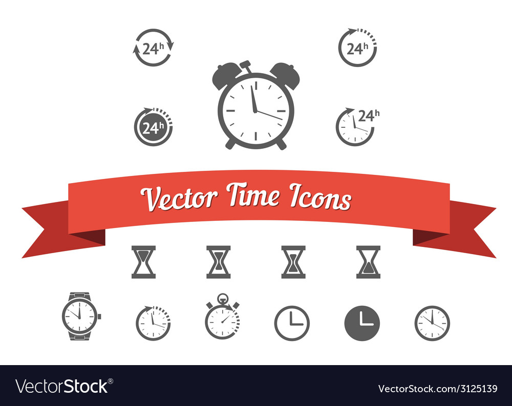 Black clock icons set vector | Price: 1 Credit (USD $1)