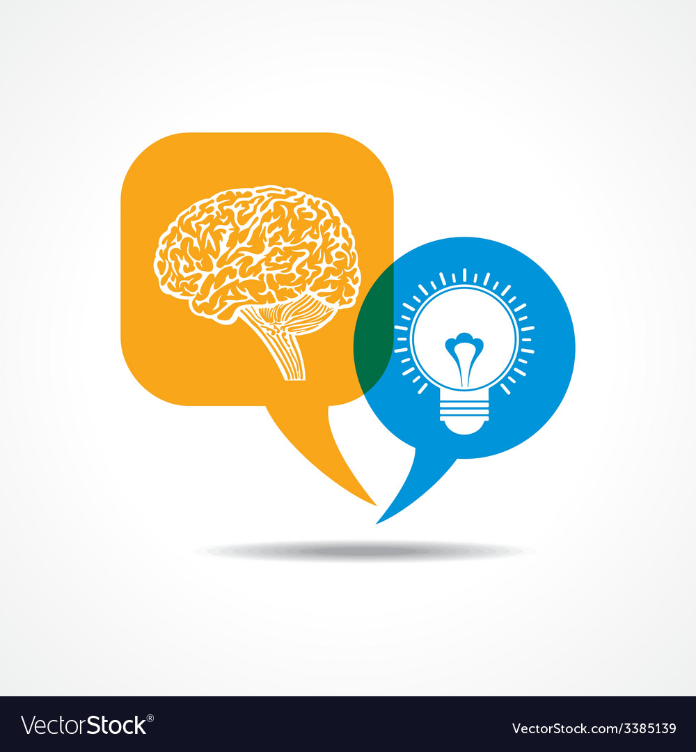Brain and light-bulb in message bubble vector | Price: 1 Credit (USD $1)