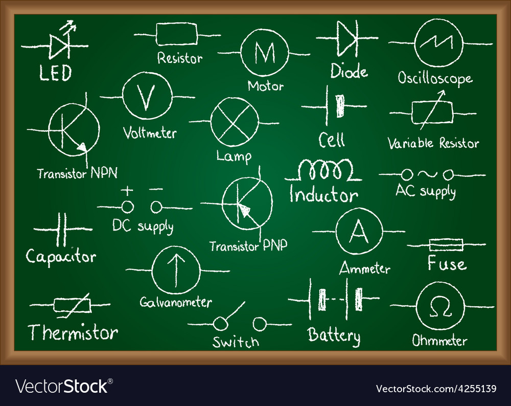 Electrical circuit symbols on chalkboard vector | Price: 1 Credit (USD $1)