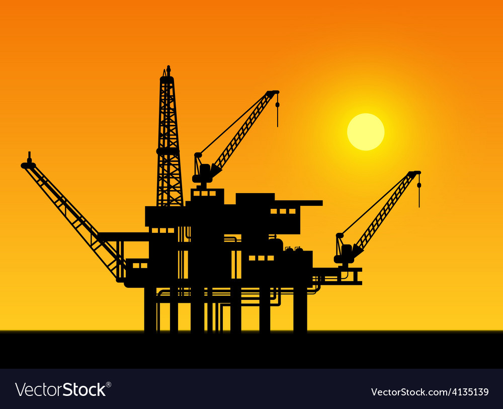 Oil derrick in sea vector   Price: 1 Credit (USD $1)