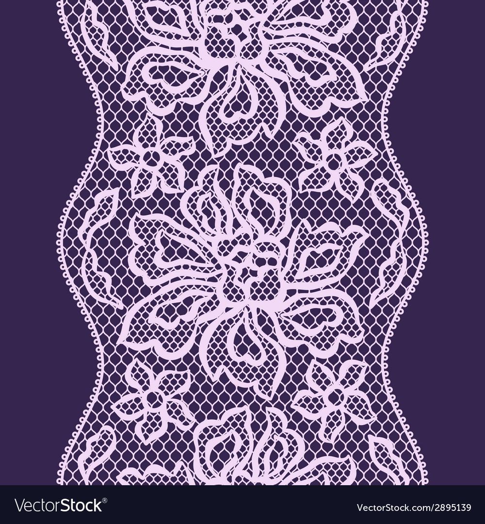 Old lace seamless pattern with ornamental flowers vector | Price: 1 Credit (USD $1)