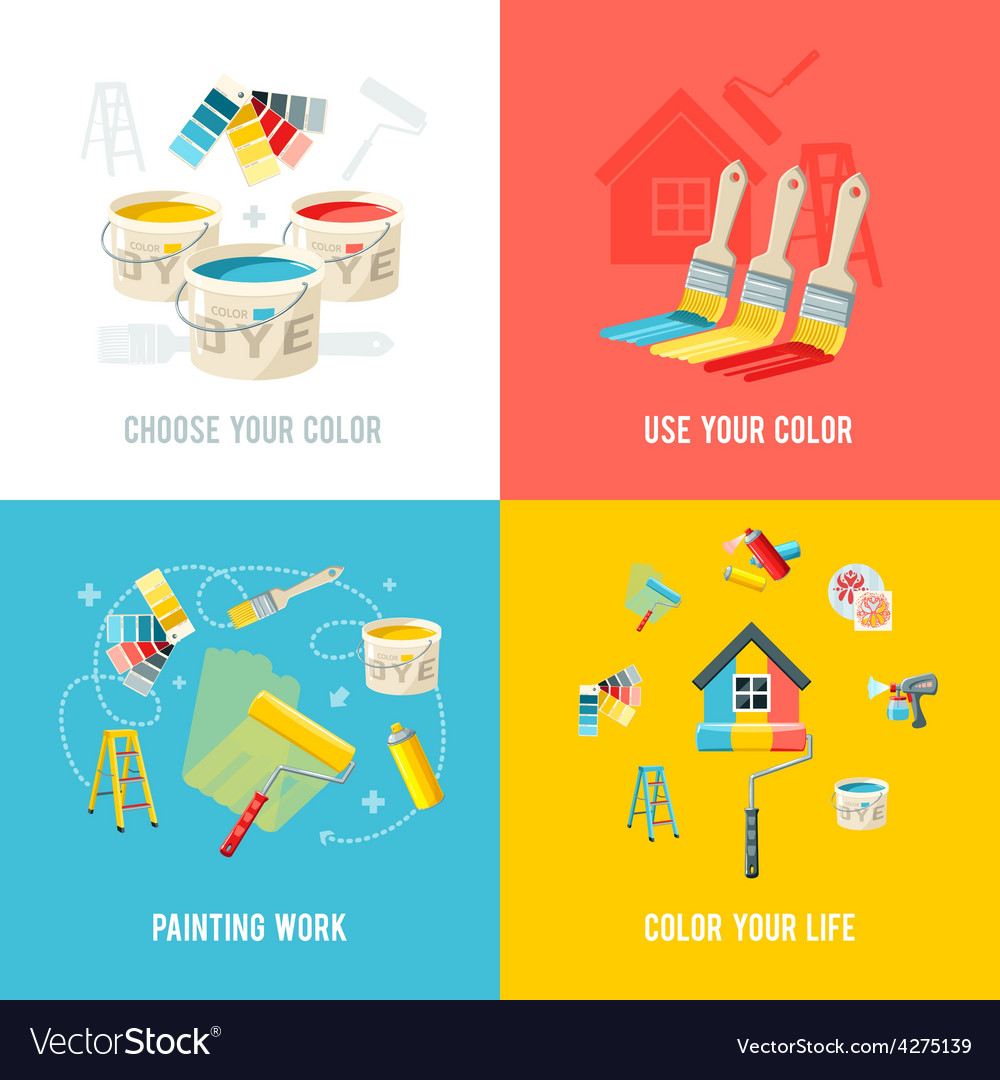 Painting work design concept vector | Price: 1 Credit (USD $1)