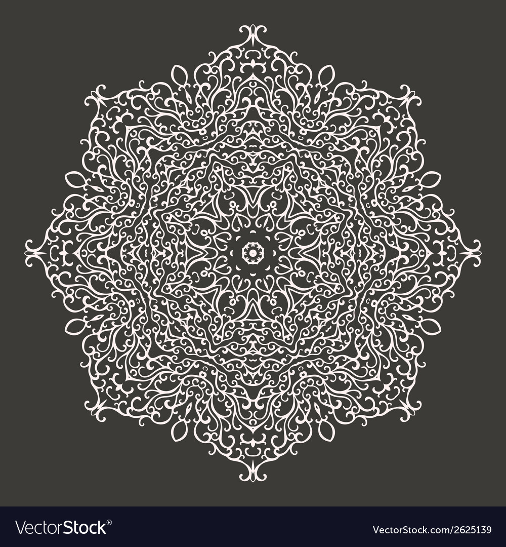 Round mandala kaleidoscopic lace ornament vector | Price: 1 Credit (USD $1)
