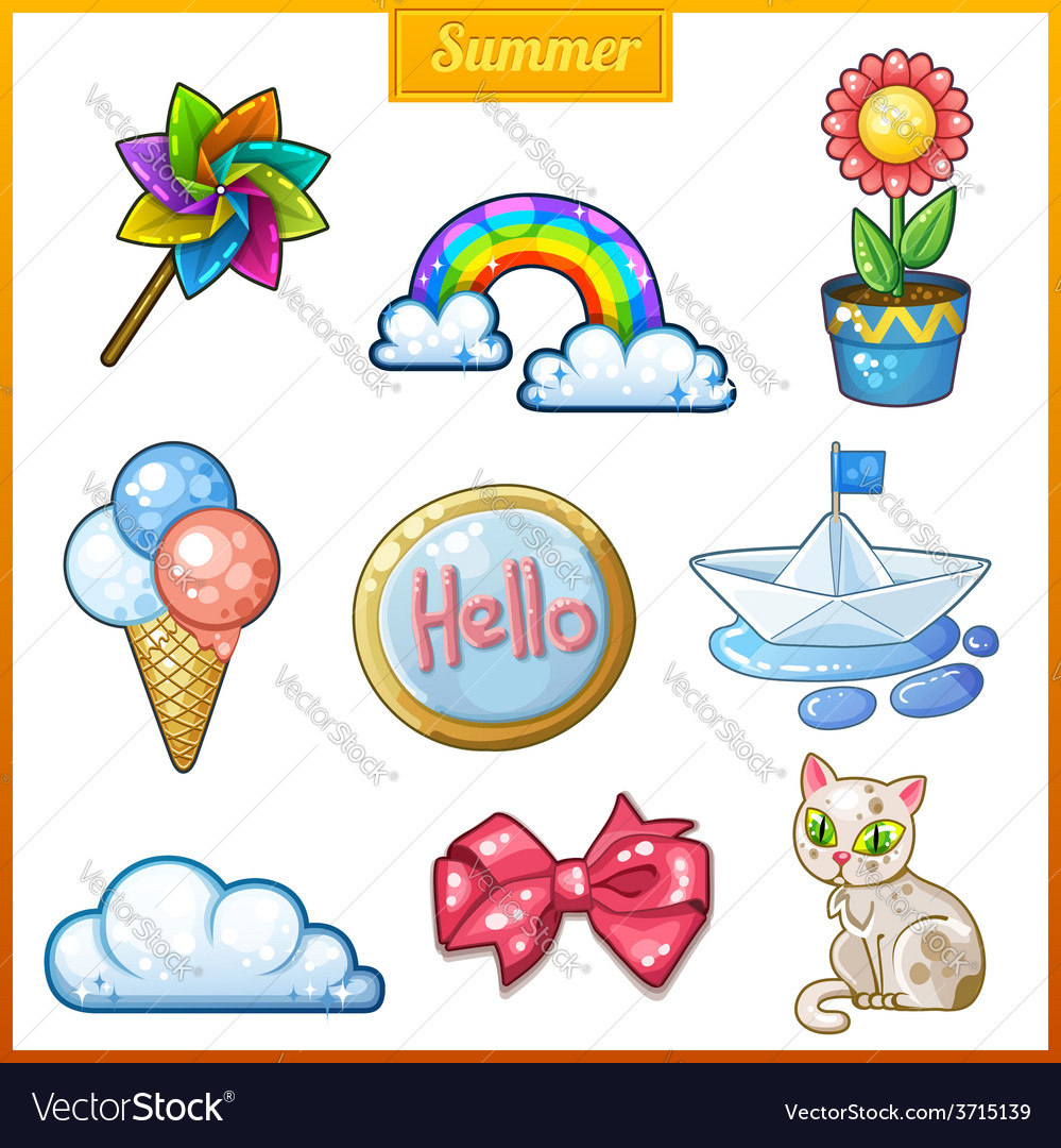 Summer set of cartoon candy icons vector | Price: 1 Credit (USD $1)